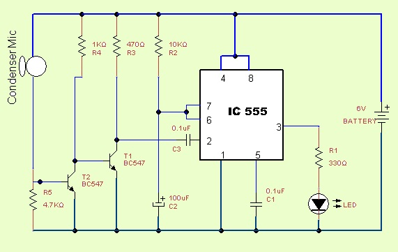 clap switch circuit using ic555 rh theorycircuit com clap switch circuit diagram using 555 timer clap switch circuit diagram using relay