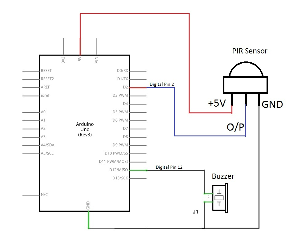 PIR sensor circuit pir sensor with arduino wiring 2 pir sensors diagram at bakdesigns.co