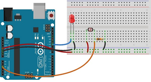 low ambient wiring diagram photocell  ldr  sensor with arduino theorycircuit do  photocell  ldr  sensor with arduino theorycircuit do