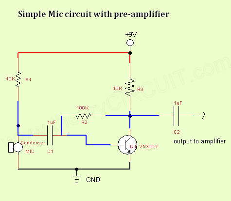 simple mic circuit theorycircuit do it yourself electronics projects rh theorycircuit com microphone mixer circuit diagram wireless microphone circuit diagram