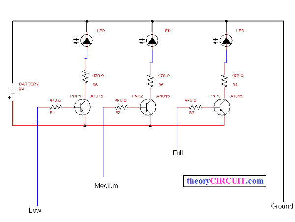 simple water level indicator rh theorycircuit com circuit diagram of water level indicator with seven segment display circuit diagram of water level indicator using arduino