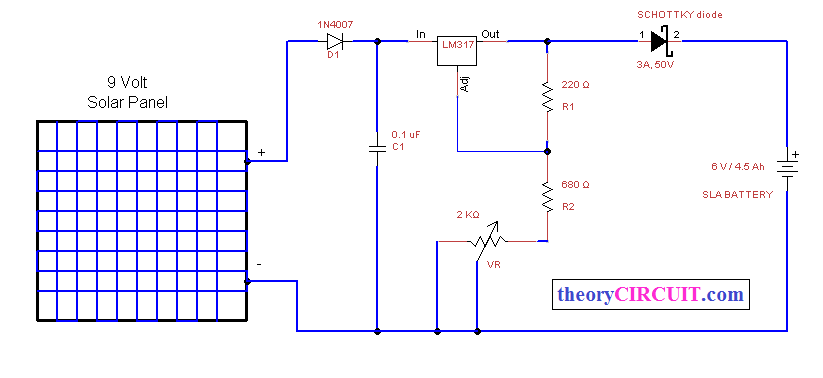 solar power battery charger - theorycircuit