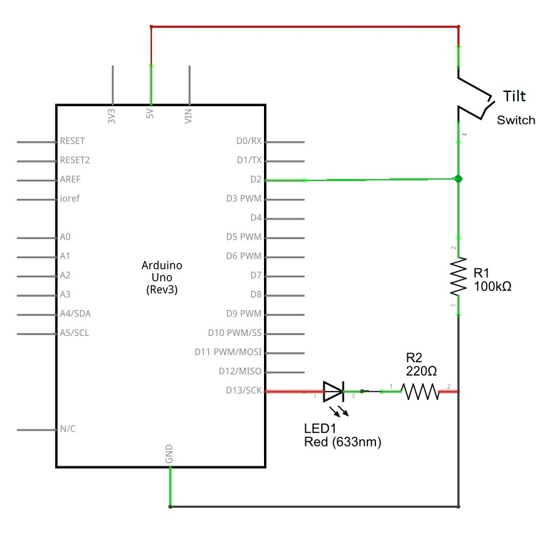 tilt switch arduino schematics theorycircuit do it yourself rh theorycircuit com Nissan Speed Sensor Wire Diagram Garage Door Safety Sensor Diagram