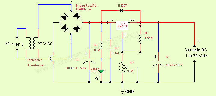 variable regulated power supply ic lm317 theorycircuit do itvariable regulated power supply ic lm317