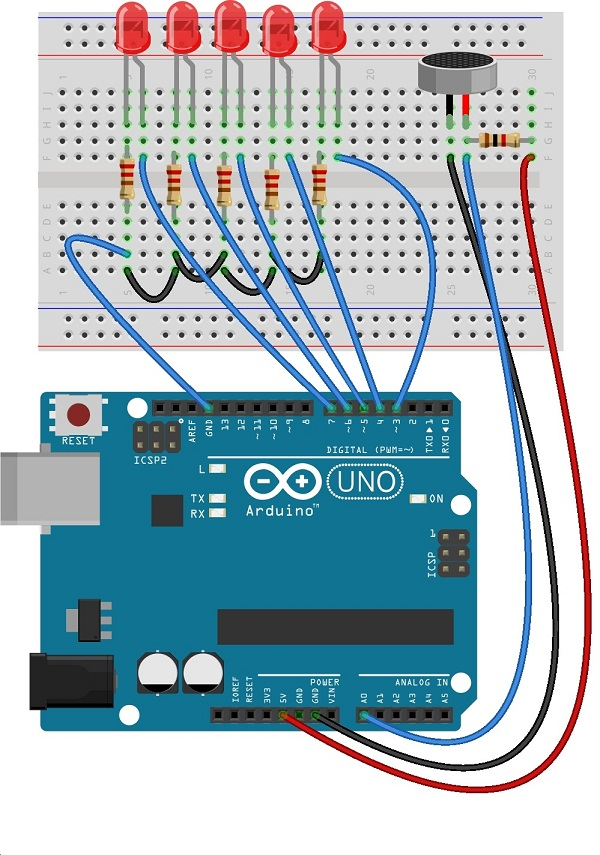 Analog Input bar graph using Arduino - theoryCIRCUIT - Do It