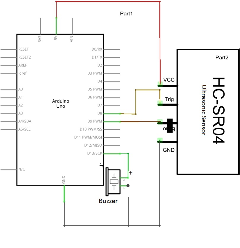 interface ultrasonic sensor (hc sr 04) with arduino theorycircuitthis circuit can used for security alarm, invisible fence with alarm or distance measurement (cm) etc\u2026 the hc sr04 sensor module works under the principle