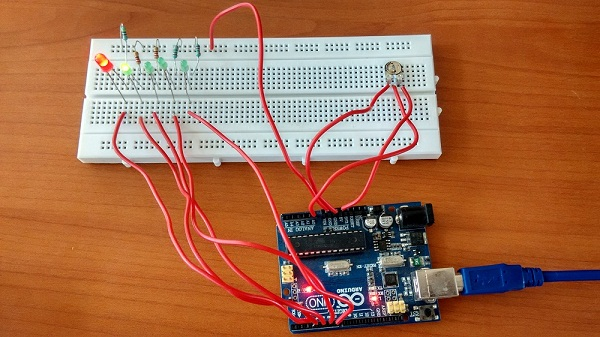 Trimpot controlled chaser led with arduino theorycircuit