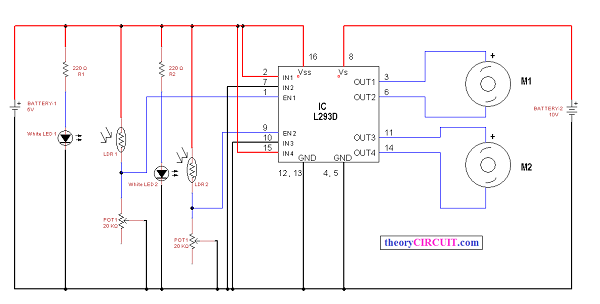 line following robot using l293d theorycircuit do it yourself rh theorycircuit com line follower robot circuit diagram without microcontroller arduino line follower robot code and circuit diagram