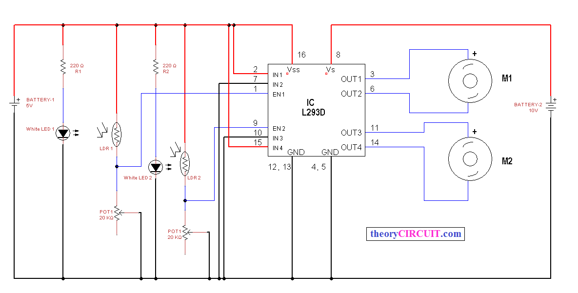 Line Following Robot Using L293d - Theorycircuit
