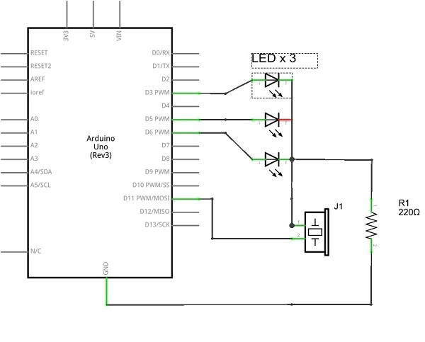 Led chaser with buzzer theorycircuit do it yourself