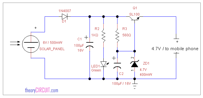 Solar Power Mobile Charger Circuit