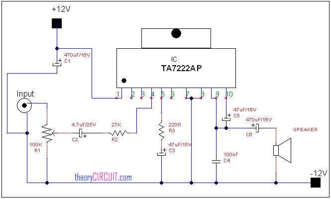 Amplifiers Circuit Diagram | Audio Power Amplifier Circuit Diagram