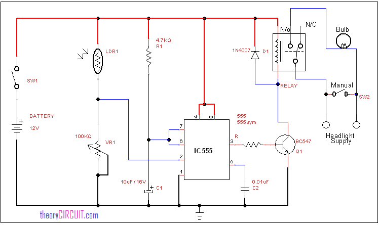 headlight circuit how to wire headlights to a toggle switch at Headlight Circuit Diagram