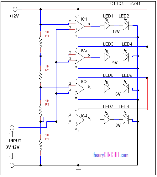 led voltmeter circuit diagram rh theorycircuit com digital voltmeter ammeter circuit diagram voltmeter circuit diagram symbol