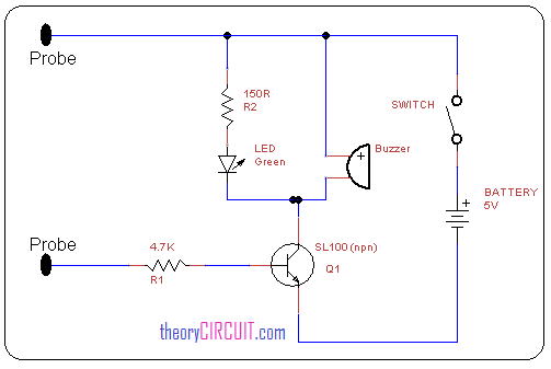 Simple continuity tester circuit diagram
