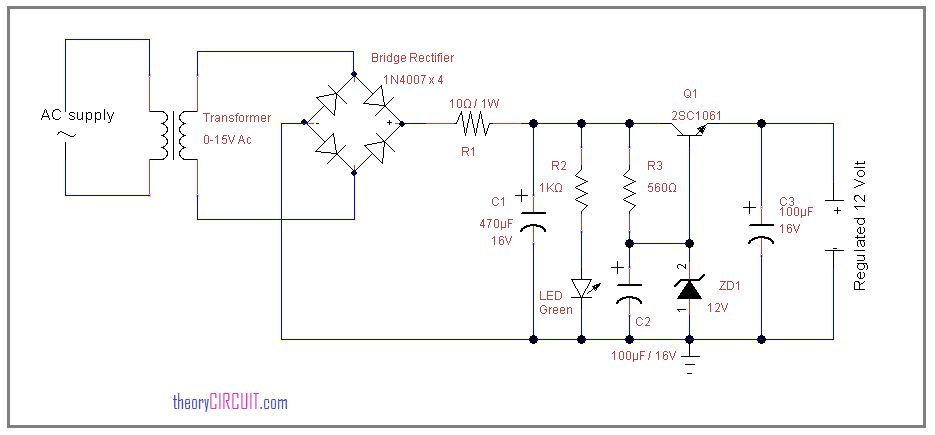 12 volt regulated power supply circuit using zener diodezener diode 12 volt power supply circuit