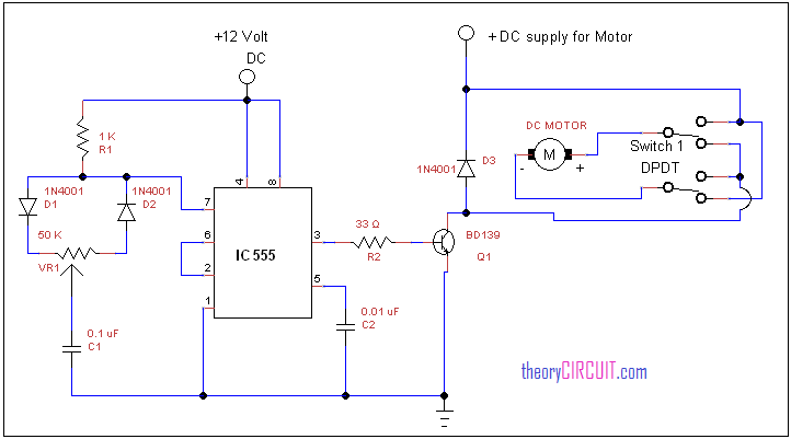 forward reverse dc motor control diagram with timer ic rh theorycircuit com