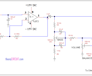 Tone control circuit using IC TL072
