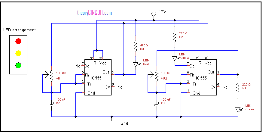 Traffic light circuit traffic light circuit using ic 555 light circuit diagram at fashall.co