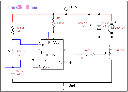 dc motor speed control using ic 555 555 timer pwm motor controller circuit 555 Timer Circuits