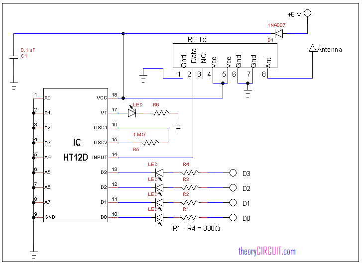 Rf remote control circuit receiver circuit diagram ccuart Choice Image