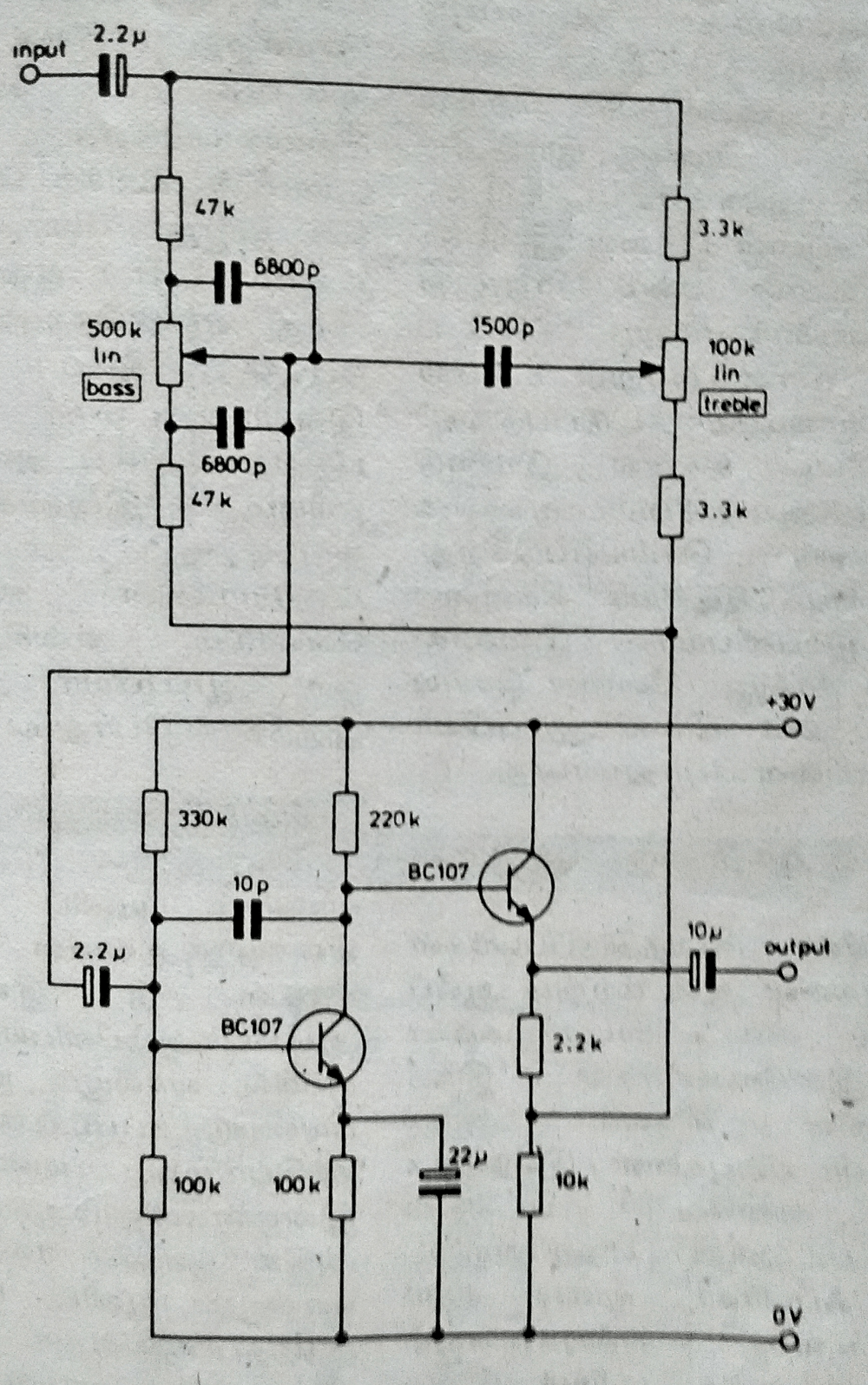 Top 5 Tone Control Circuit Booster Amplifier Schematic Diagram Two Transistor