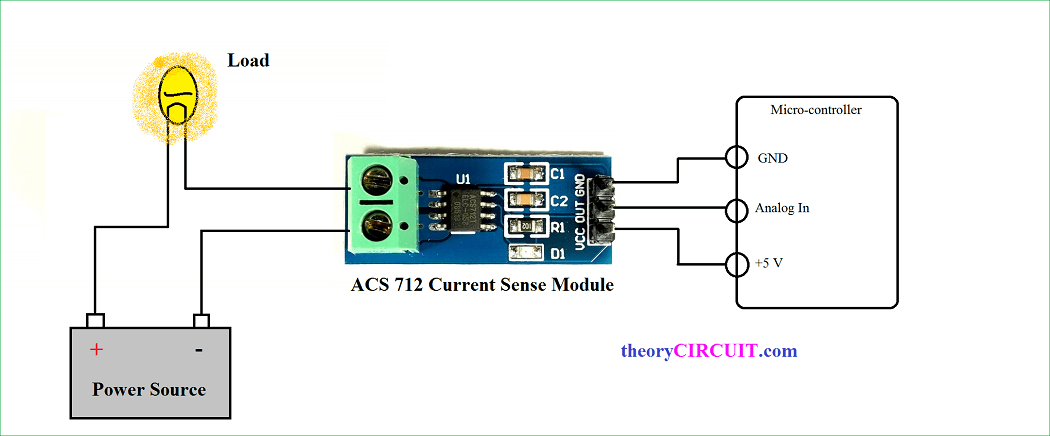hall effect current sensor circuit with arduino rh theorycircuit com current sensor acs712 circuit diagram dc current sensor circuit diagram