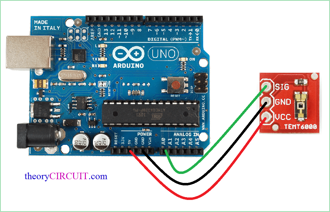 Ambient light sensor temt with arduino