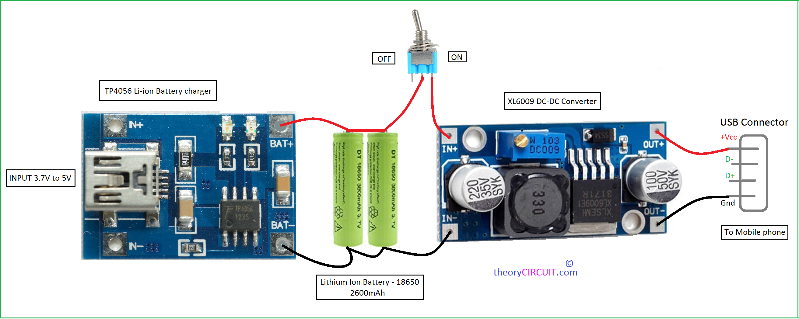 Power Bank Circuit For Smartphones Mobile Phone Detector