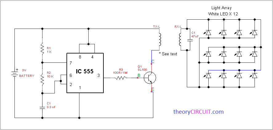 wireless power light array using ic555 rh theorycircuit com 555 Timer Pinout 555 Timer Tutorial
