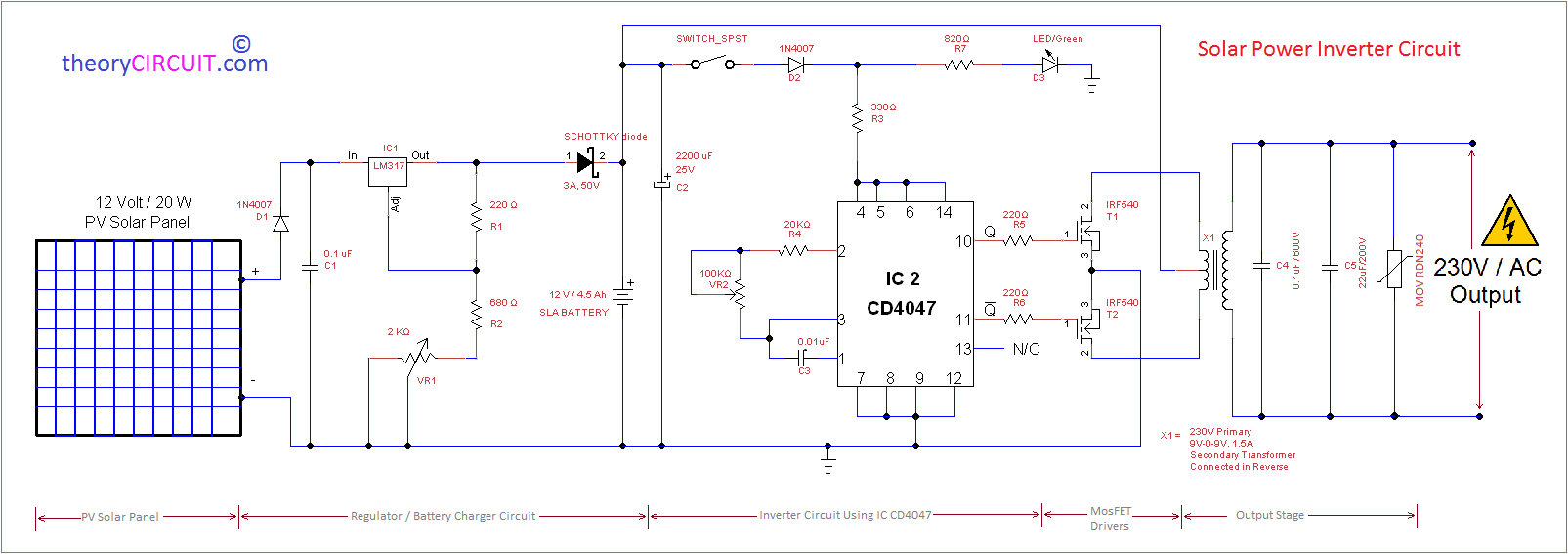 PV Solar Inverter Circuit Diagram - Circuit diagram of an inverter