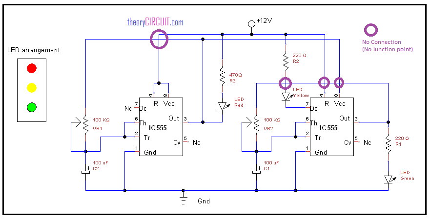 traffic light circuit using ic 555 rh theorycircuit com traffic signal schematic diagram traffic light circuit diagram using 4017