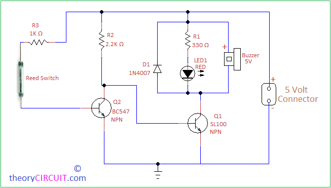 alarm circuit electronic schematics collectionsdoor open alarm circuit using reed switchdoor open alarm circuit