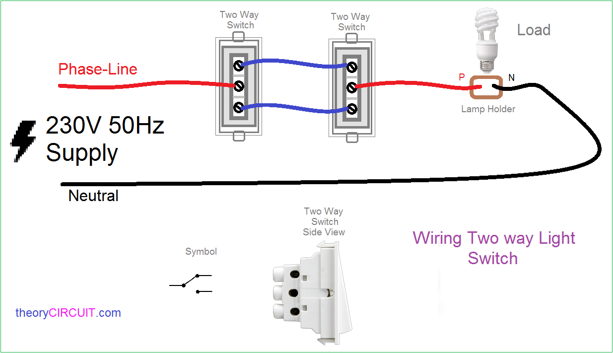 two way light switch connection rh theorycircuit com Four- Way Switch Wiring  Diagram 3-Way Switch Multiple Lights Wiring-Diagram