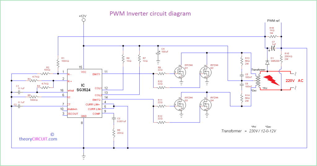 pwm inverter circuit diagram using ic sg3524 and mosfet