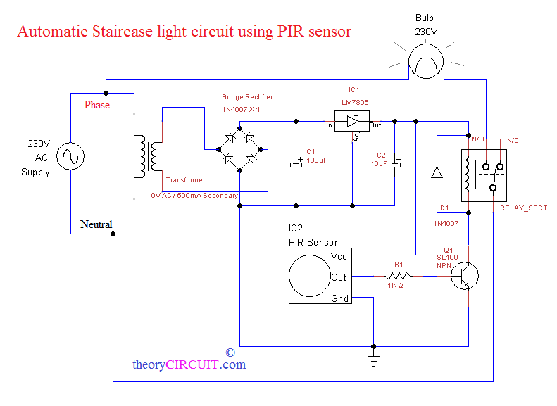 automatic staircase light using pir sensor rh theorycircuit com Relay Controlling Two Circuits Relay Logic Circuits