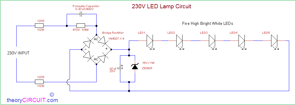 Ac powered 230v led circuit circuit diagram ccuart Images