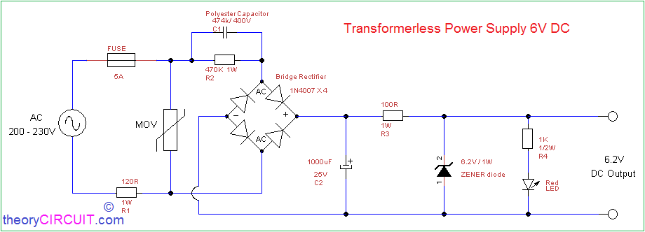 Transformerless Power Supply 6V DC