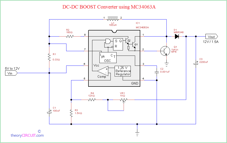 Dc dc boost converter using mc34063a circuit diagram ccuart Image collections