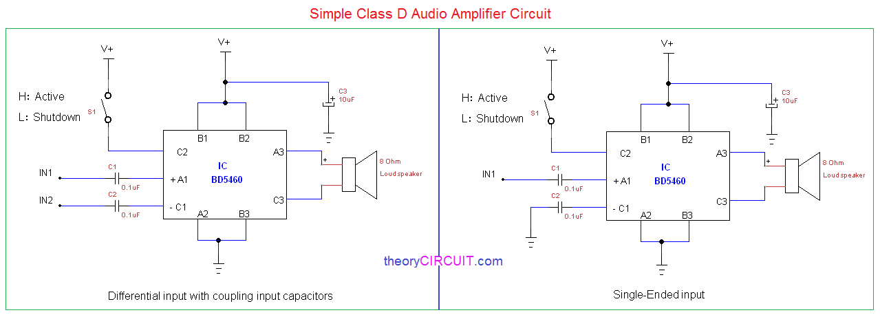 simple class d amplifier schematic. Black Bedroom Furniture Sets. Home Design Ideas