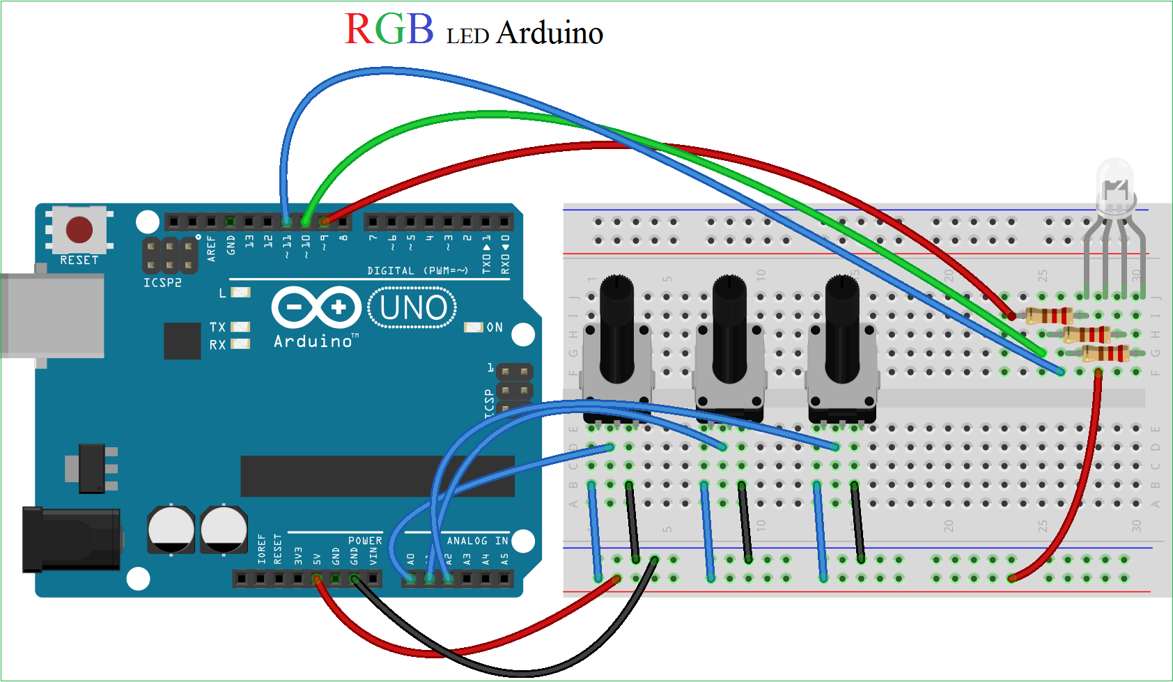 Rgb Led Arduino Traffic Light Schematic Diagram Connect The Pin Common Anode Of To 5v Board And Red Green Blue Terminals Digital Pins D9