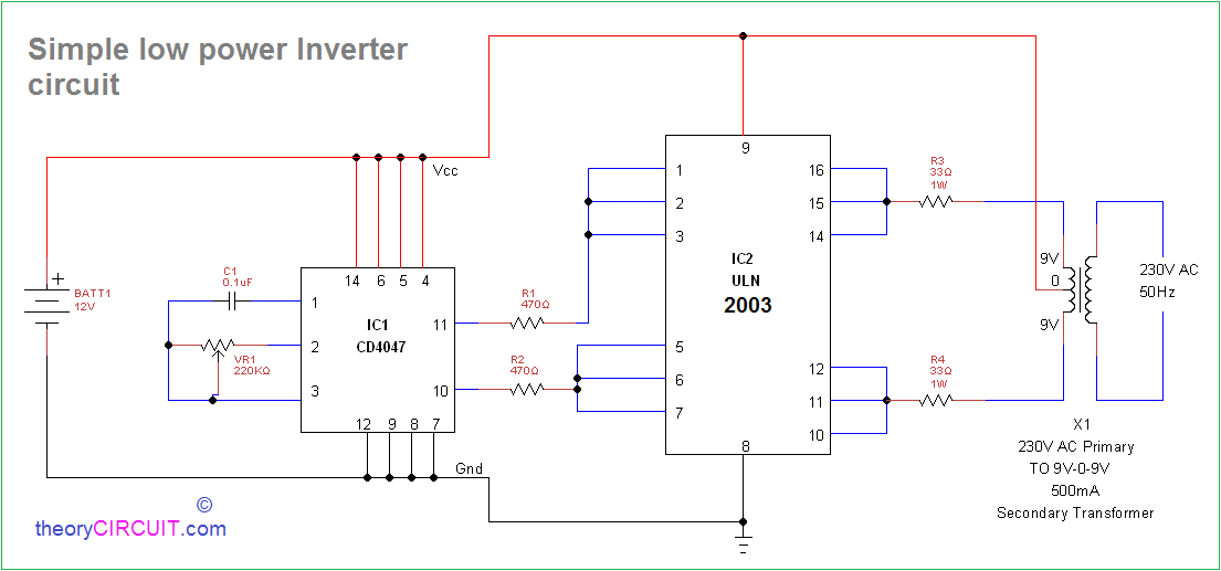 simple inverter circuit using cd4047 and uln2003 rh theorycircuit com simple dc to ac inverter circuit diagram simple inverter circuit diagram cd 4740