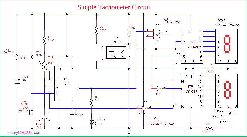 tachometer circuit using 555 timer png rh theorycircuit com electronic tachometer circuit diagram tachometer circuit diagram using microcontroller