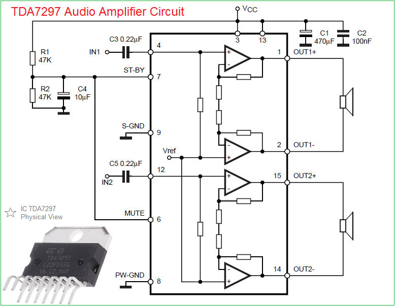 car audio amplifier circuit 15w 15w rh theorycircuit com 4 channel car audio amplifier circuit diagram car audio amplifier wiring diagram