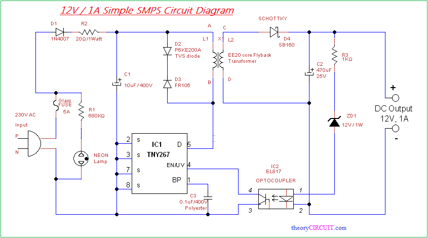 simple smps circuit rh theorycircuit com 12v circuit diagram for power supply 12v circuit diagram for power supply