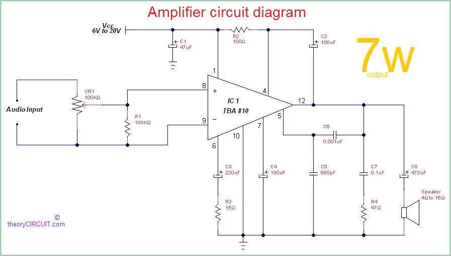 amplifier circuit diagram png rh theorycircuit com circuit diagram of audio amplifier circuit diagram of amplifier using lm386