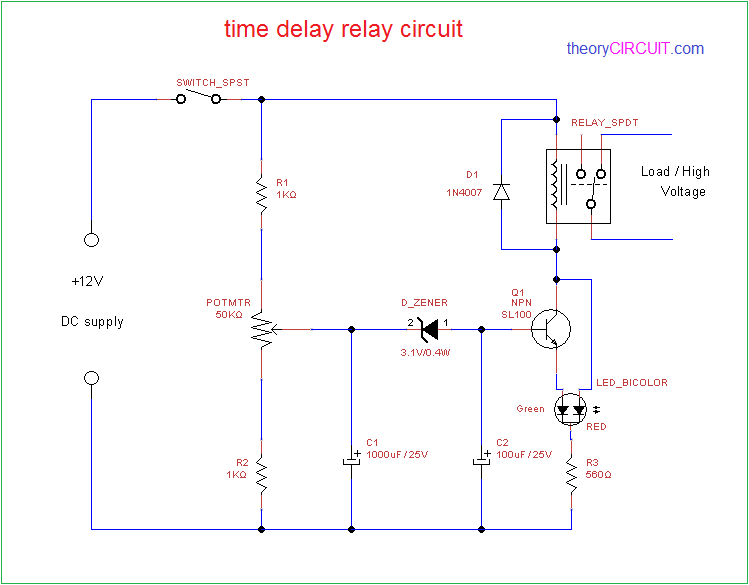 time delay relay rh theorycircuit com 12v timer delay relay circuit diagram time delay based relay operated load circuit diagram