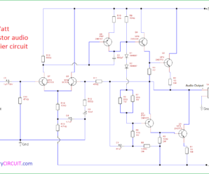 100 Watt transistor audio amplifier circuit
