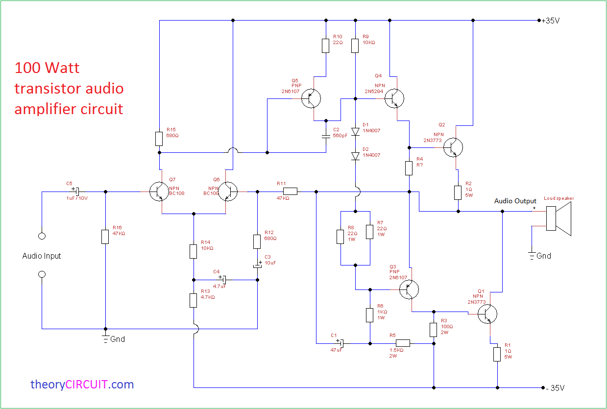 Circuit diagram-100 Watt Transistor Audio Amplifier