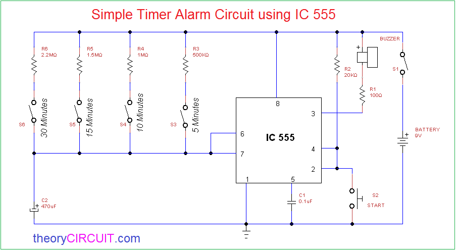 alarm circuit electronic schematics collectionssimple timer alarm circuit using ic 555construction \\u0026 working
